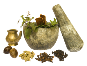 Kernstücke des ganzheitlichen Gesundheitssystems Ayurveda ist typische Zubereitung mit Pflanzen